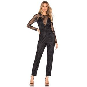 Lovers + Friends Black Long Sleeve Lace Jumpsuit